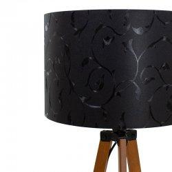 Φωτιστικό δαπέδου PWL-0002 pakoworld πόδια καρυδί-μαύρο pvc καπέλο με σχέδιο Φ38x140εκ
