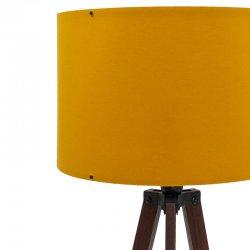 Φωτιστικό δαπέδου PWL-0002 pakoworld Ε27 πόδια καρυδί-μουσταρδί υφασμάτινο καπέλο Φ38x140εκ