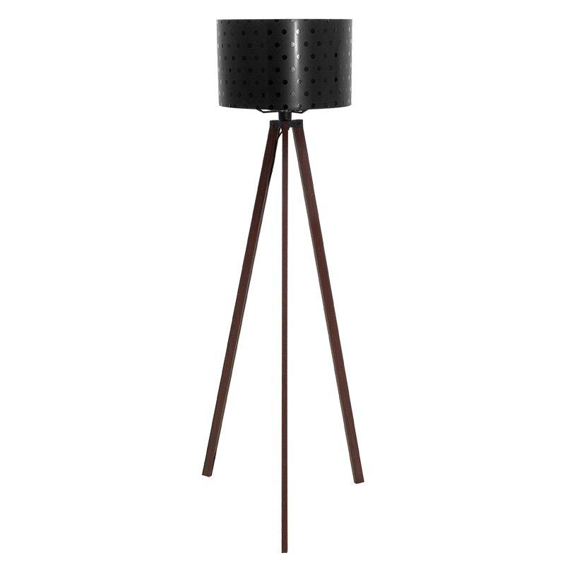 Φωτιστικό δαπέδου PWL-0003 pakoworld E27 πόδια καρυδί-μαύρο pvc καπέλο με σχέδιο Φ38x140εκ