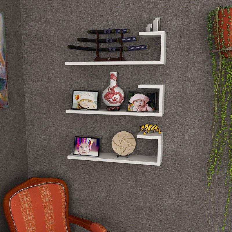 Ραφιέρα τοίχου τριών τεμαχίων PWF-0021 pakoworld χρώμα λευκό 60x14,5x18εκ