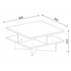 Τραπέζι σαλονιού PWF-0027 pakoworld χρώμα καρυδί - λευκό 60x60x31εκ