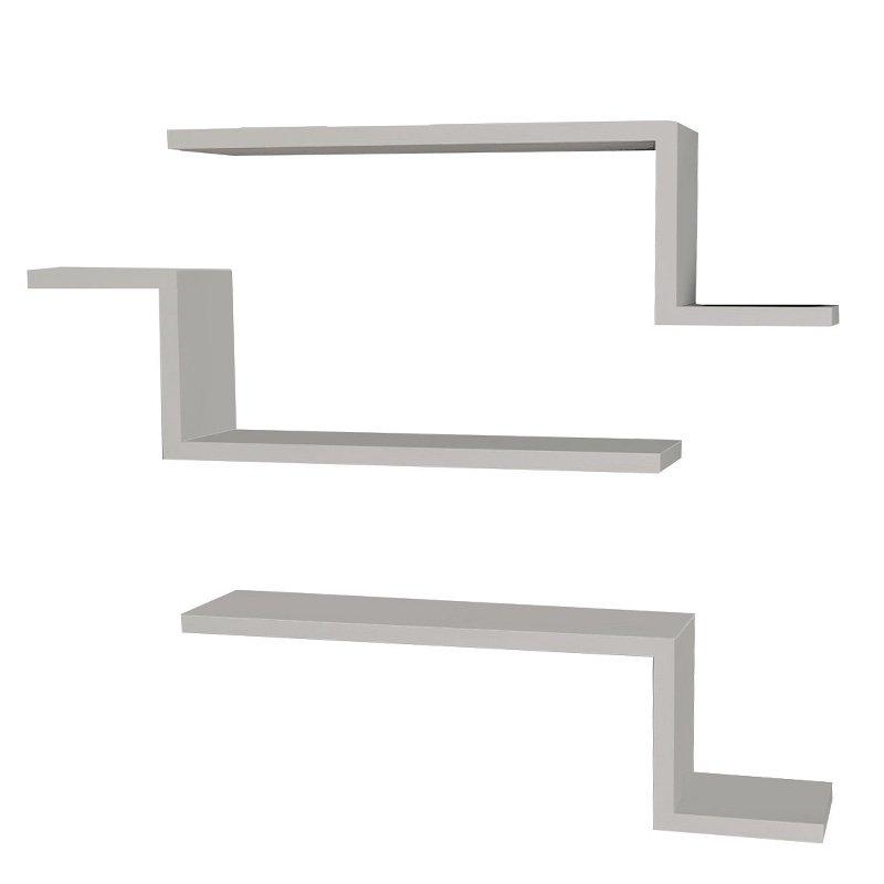 Ραφιέρα τοίχου τριών τεμαχίων PWF-0040 pakoworld χρώμα λευκό 58x14,5x18εκ
