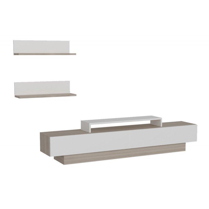 Σύνθετο σαλονιού PWF-0041 pakoworld χρώμα Cordoba - λευκό 180x31,5x40εκ