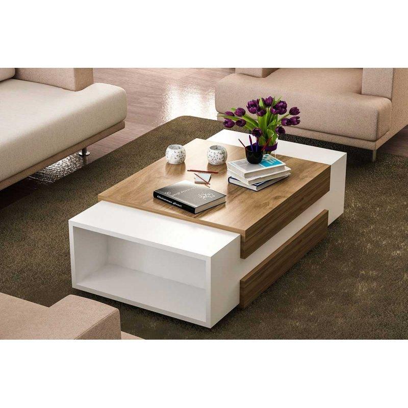 Τραπέζι σαλονιού PWF-0052 pakoworld χρώμα λευκό - καρυδί 110x60,5x31εκ