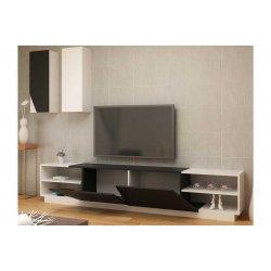 Σύνθετο σαλονιού PWF-0076 pakoworld χρώμα μαύρο - λευκό 240x37,5x47εκ