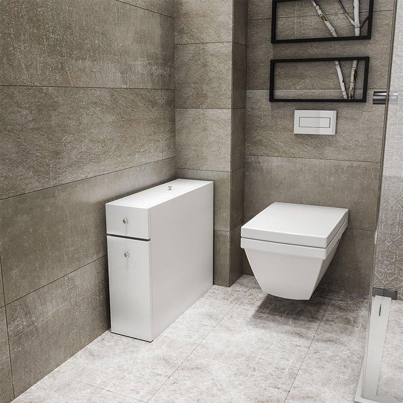 Συρταριέρα πολυμορφική μπάνιου PWF-0010 pakoworld χρώμα λευκό 19x60x55εκ