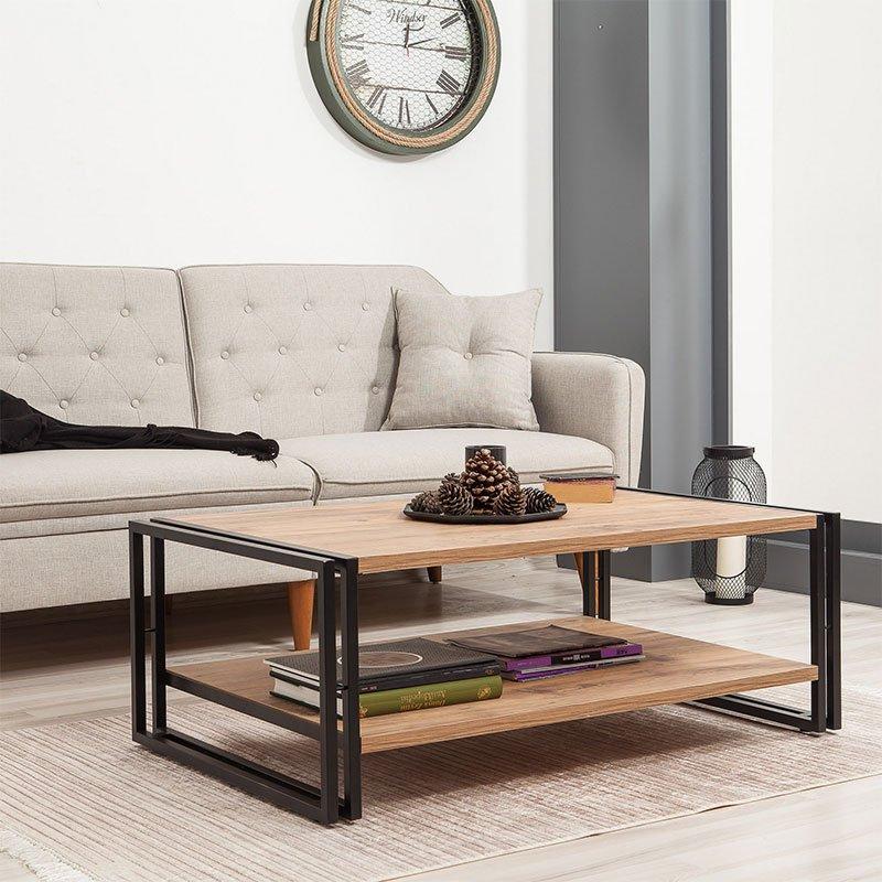 Τραπέζι σαλονιού PWF-0240 pakoworld χρώμα πεύκου-μαύρο 110x70x40εκ