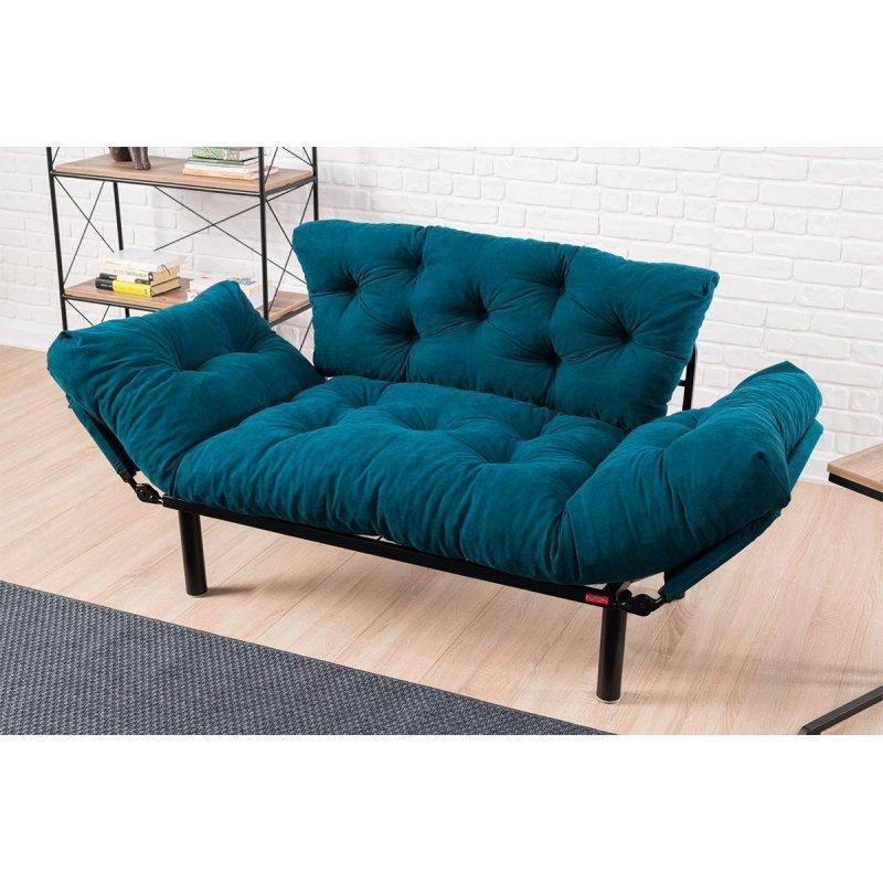 Καναπές κρεβάτι PWF-0018 pakoworld 2θέσιος με ύφασμα χρώμα πετρόλ 155x73x85cm