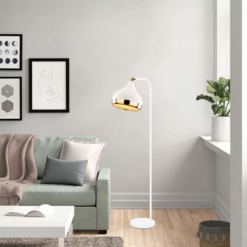 Φωτιστικό δαπέδου PWL-0068 pakoworld E27 χρώμα λευκό-χρυσό 30x17x120εκ