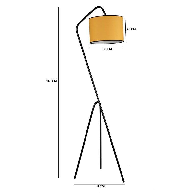 Μεταλλικό φωτιστικό δαπέδου PWL-0124 pakoworld E27 χρώμα κίτρινο - μαύρο 30x50x165εκ