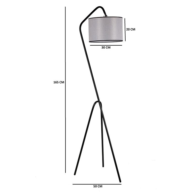 Μεταλλικό φωτιστικό δαπέδου PWL-0124 pakoworld E27 χρώμα γκρι - μαύρο 30x50x165εκ