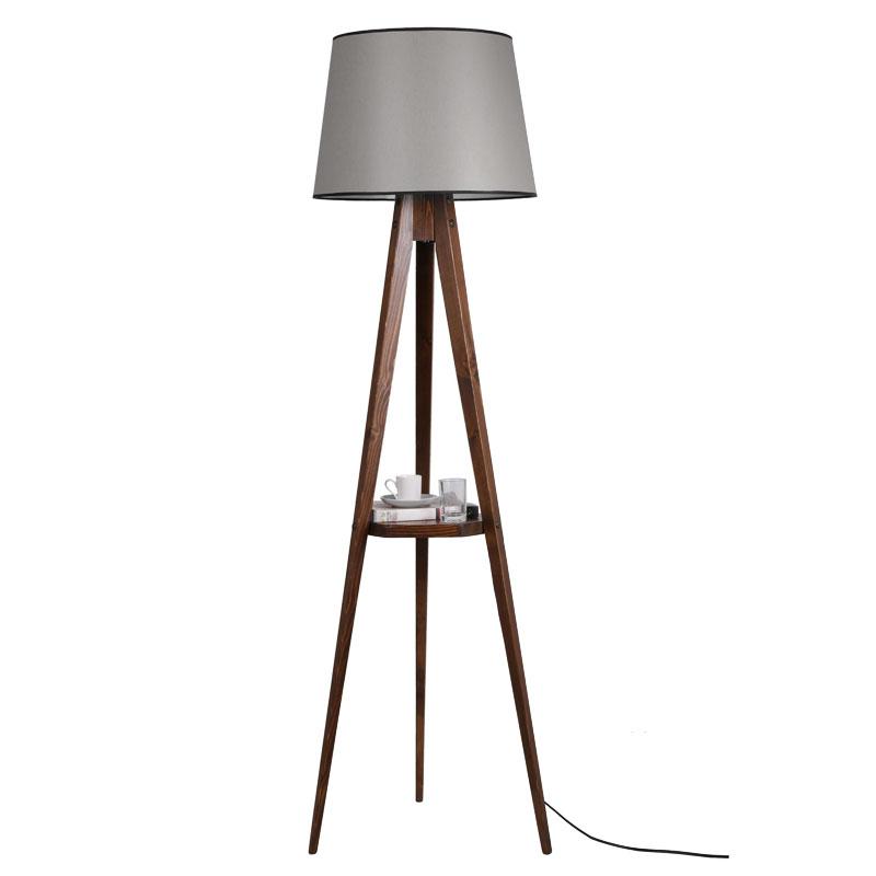 Φωτιστικό δαπέδου PWL-0125 pakoworld ξύλο καρυδί - καπέλο μπεζ Φ45x50x160εκ