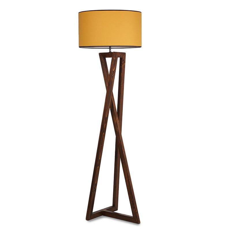 Φωτιστικό δαπέδου PWL-0126 pakoworld ξύλο καρυδί - καπέλο κίτρινο Φ45x43x166εκ