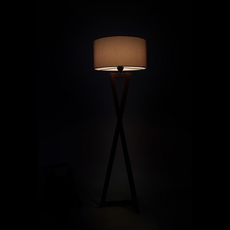 Φωτιστικό δαπέδου PWL-0126 pakoworld ξύλο καρυδί - καπέλο μπεζ Φ45x43x166εκ