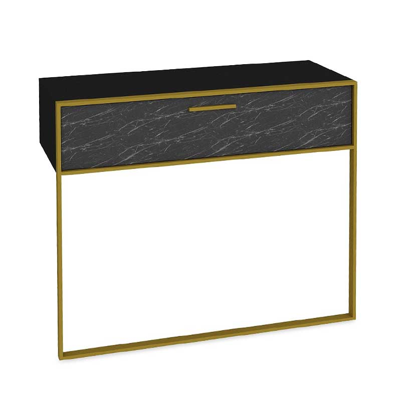 Κονσόλα PWF-0298 pakoworld χρώμα μαύρο μαρμάρου-χρυσό 90x38,5x77εκ
