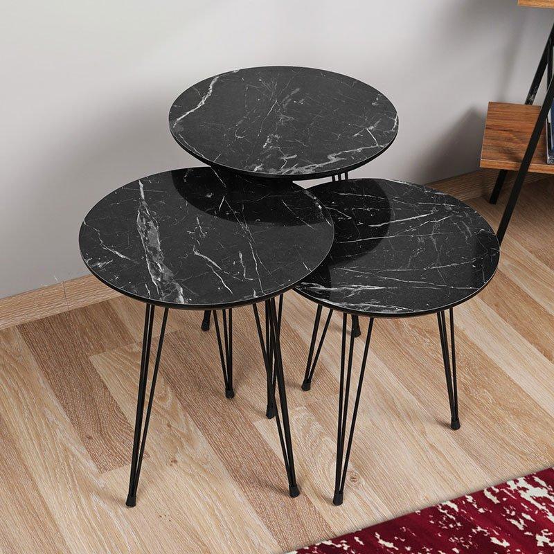 Τραπεζάκια σαλονιού PWF-0306 pakoworld σετ 3 τεμ χρώμα μαύρο μαρμάρου 38x38x55εκ