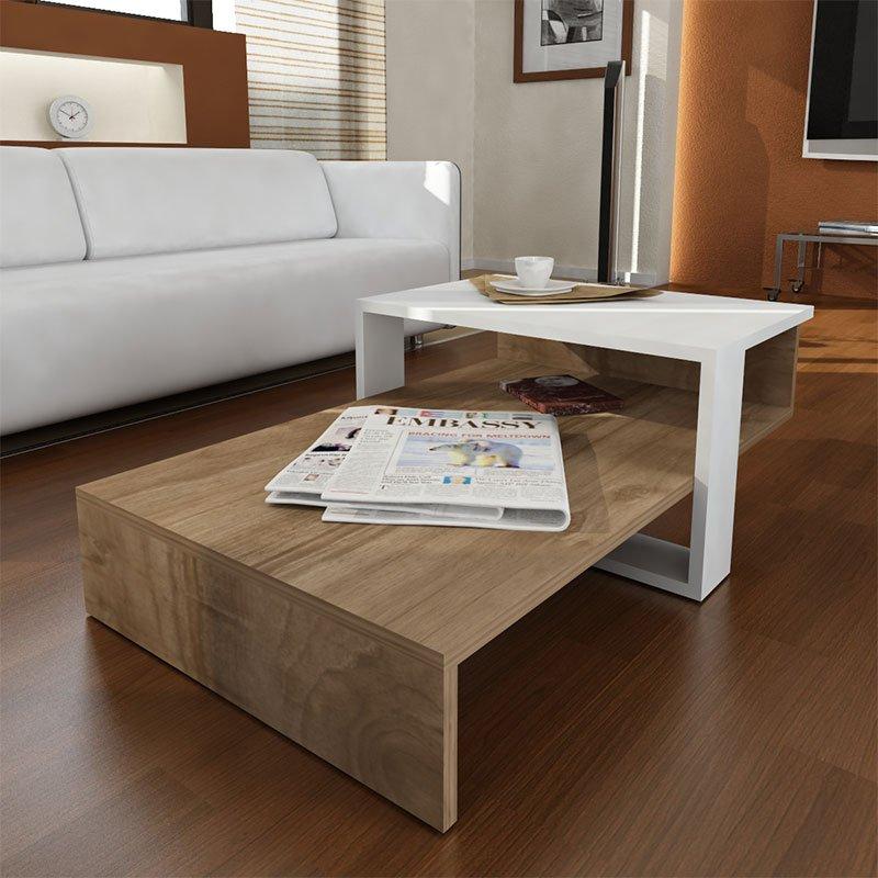 Τραπέζι σαλονιού PWF-0307 pakoworld χρώμα καρυδί - λευκό 80x43.5x32.5εκ