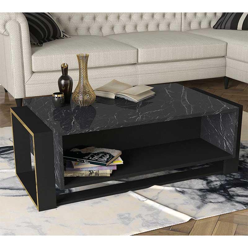 Τραπέζι σαλονιού PWF-0316 pakoworld χρώμα μαύρο μαρμάρου-χρυσό 106.5x60x40.5εκ