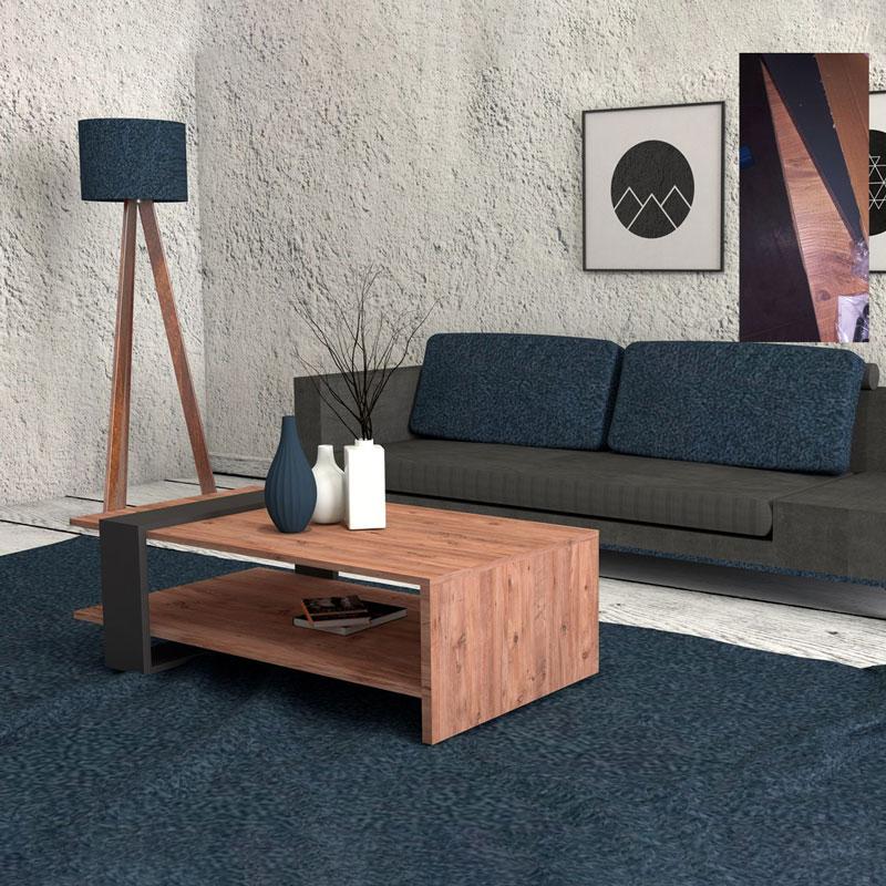 Τραπέζι σαλονιού PWF-0319 pakoworld χρώμα ανοικτό καρυδί - ανθρακί 80x55x35εκ