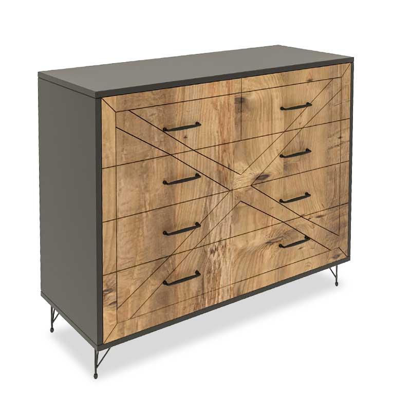 Συρταριέρα PWF-0279 pakoworld με 4 συρτάρια χρώμα ανθρακί - πεύκο 80x40x100εκ