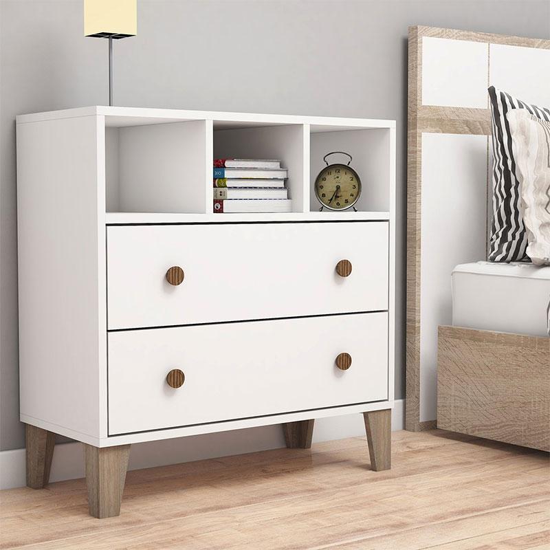 Συρταριέρα PWF-0337 pakoworld χρώμα λευκό-sonoma 80x37.5x84εκ