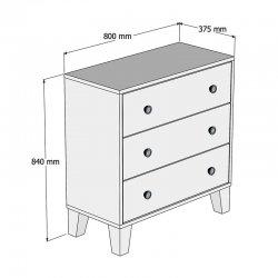 Συρταριέρα PWF-0338 pakoworld χρώμα sonoma-λευκό 80x37.5x84εκ