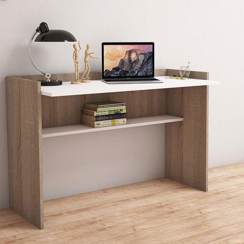 Γραφείο εργασίας PWF-0339 pakoworld χρώμα sonoma - λευκό 90x58x80εκ