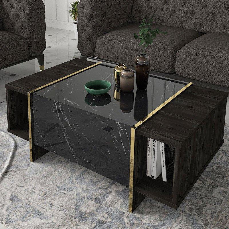 Τραπέζι σαλονιού PWF-0342 pakoworld μαύρο μάρμαρο-χρυσό 104x60x37.5εκ