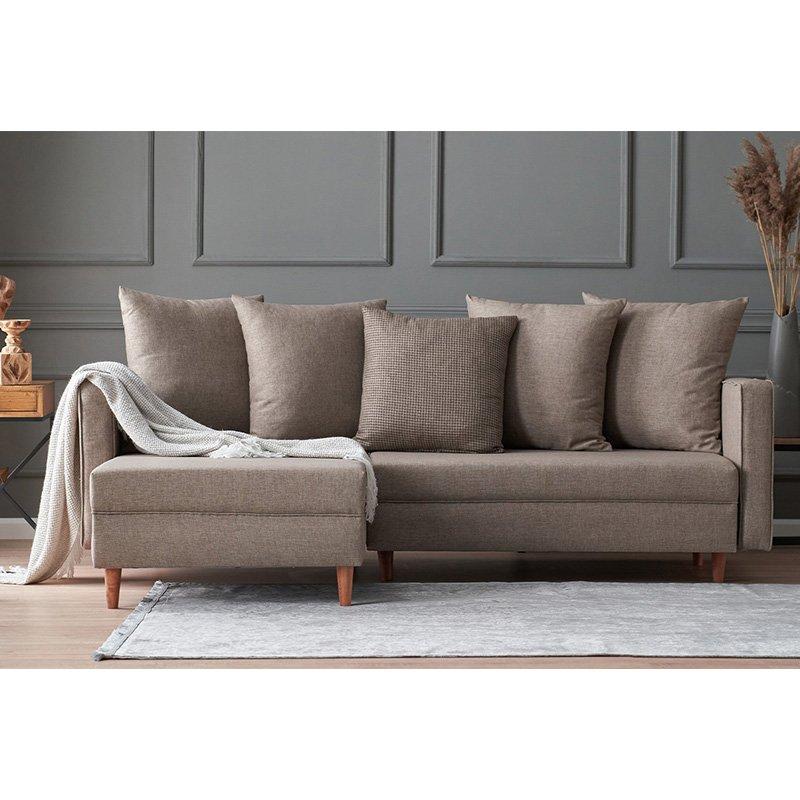 Καναπές κρεβάτι PWF-343 δεξιά γωνία ύφασμα μπεζ-γκρι 215x135x80εκ