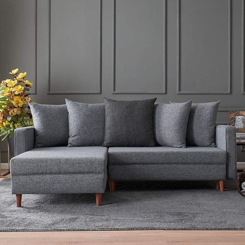 Καναπές κρεβάτι PWF-343 δεξιά γωνία ύφασμα γκρι 215x135x80εκ