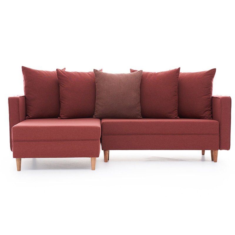 Καναπές κρεβάτι PWF-343 δεξιά γωνία ύφασμα κεραμιδί 215x135x80εκ