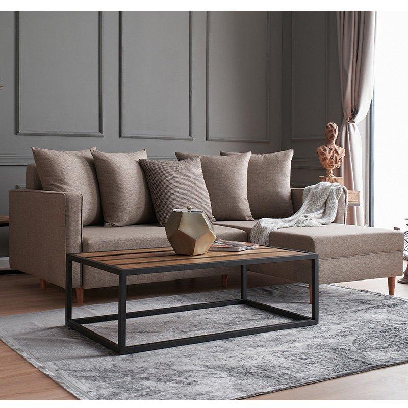 Καναπές κρεβάτι PWF-343 αριστερή γωνία ύφασμα μπεζ- γκρι 215x135x80εκ