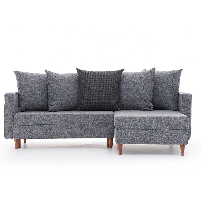 Καναπές κρεβάτι PWF-343 αριστερή γωνία ύφασμα γκρι 215x135x80εκ