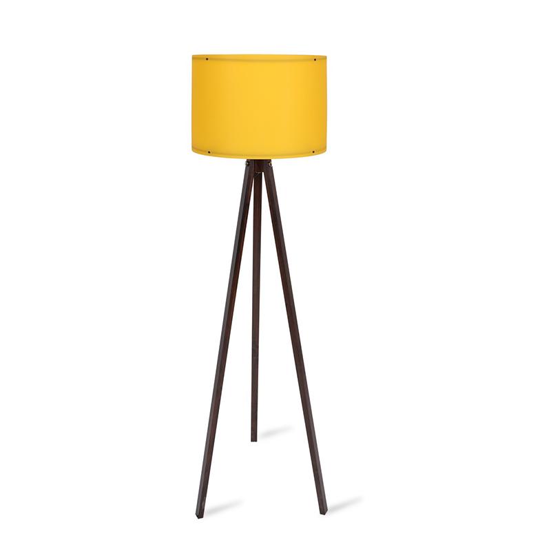 Φωτιστικό δαπέδου PWL-0164 pakoworld πόδια καρυδί-μουσταρδί PVC καπέλο Φ37x147εκ