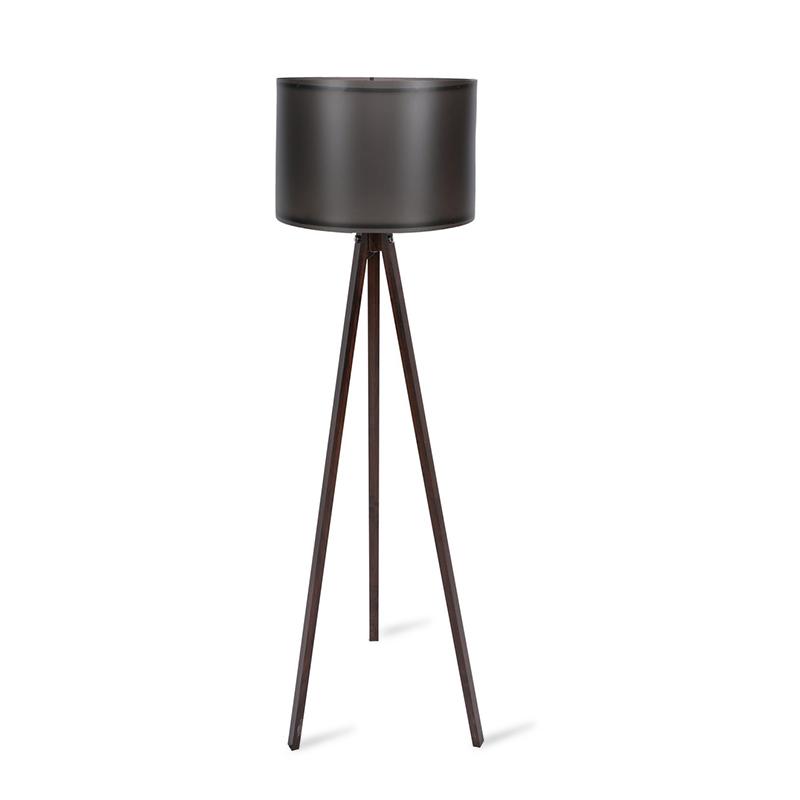 Φωτιστικό δαπέδου PWL-0164 pakoworld πόδια καρυδί-μαύρο PVC καπέλο Φ37x147εκ