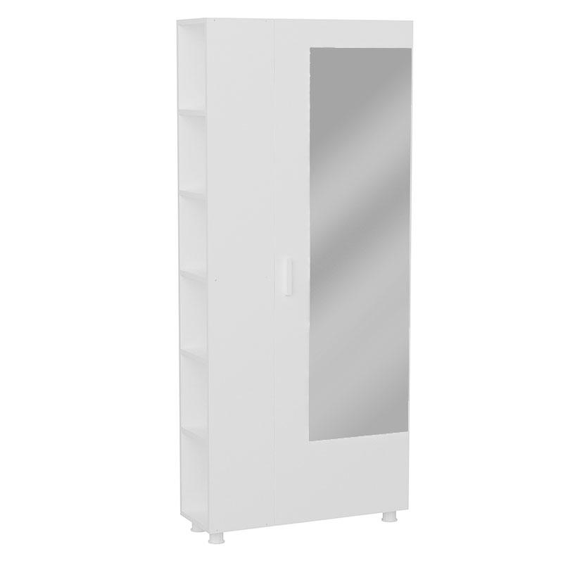 Έπιπλο εισόδου PWF-0437 pakoworld με καθρέφτη λευκό 80x28,5x185εκ