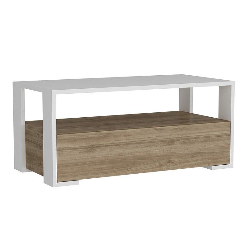 Τραπέζι σαλονιού PWF-0046 pakoworld λευκό-καρυδί 90x44,5x40εκ