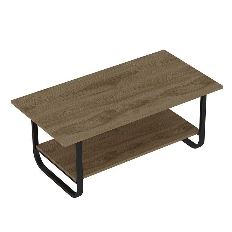 Τραπέζι σαλονιού PWF-0440 pakoworld μαύρο-καρυδί 110x60x48εκ