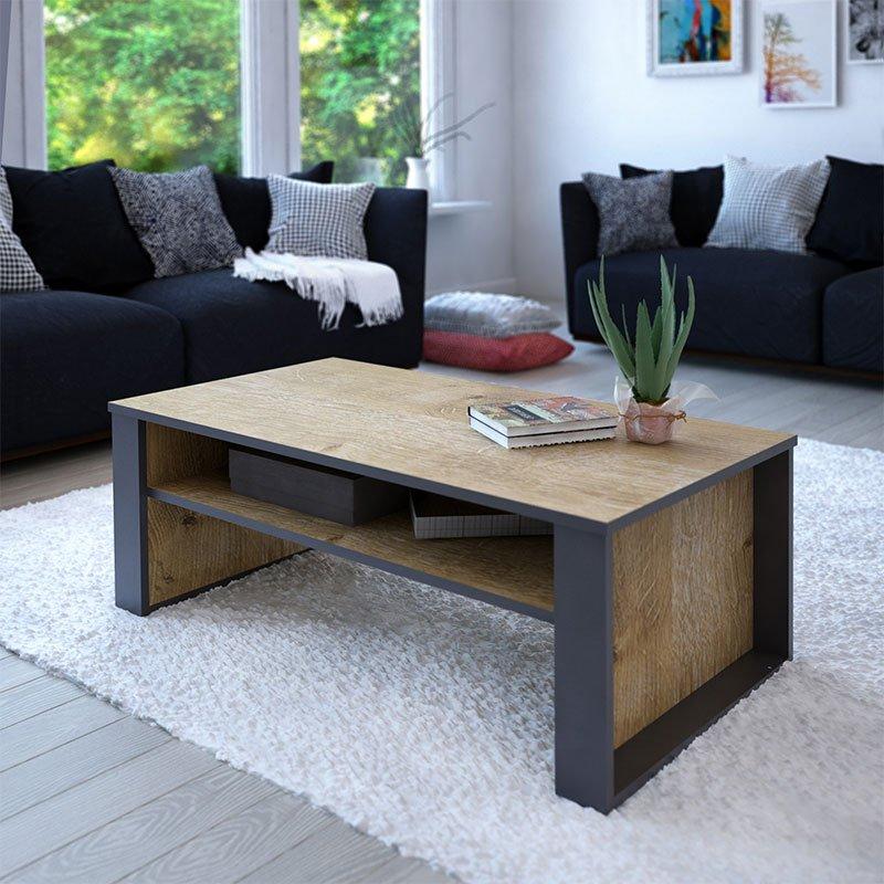 Τραπέζι σαλονιού PWF-0441 pakoworld γκρι-σκούρο φυσικό 110x60x40εκ