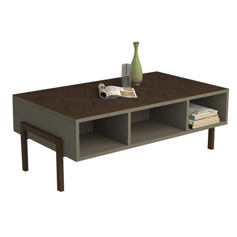 Τραπέζι σαλονιού PWF-0442 pakoworld γκρι-καφέ 90x60x40εκ