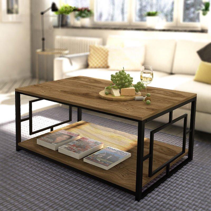 Τραπέζι σαλονιού PWF-0451 pakoworld μαύρο-καρυδί 120x60x50εκ