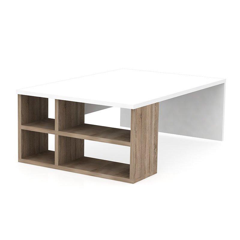 Τραπέζι σαλονιού PWF-0458 pakoworld λευκό-φυσικό 90x60x33.5εκ