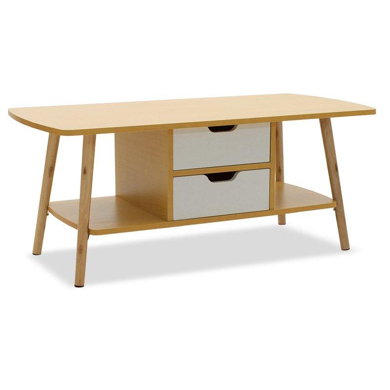 Τραπέζι σαλονιού Bloody MDF χρώμα oak - λευκό 100x48x42εκ