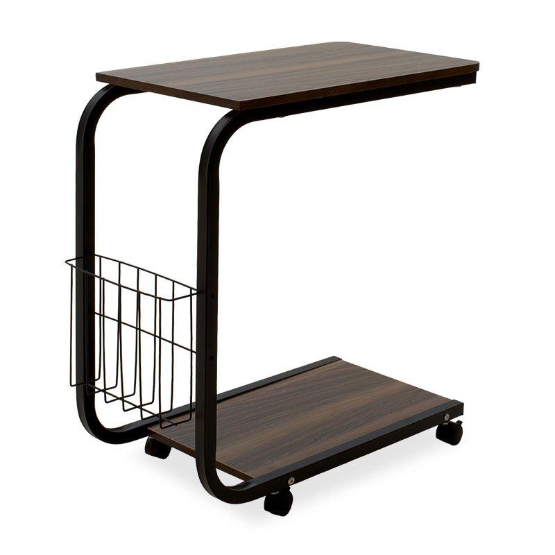 Τραπέζι βοηθητικό σαλονιού Troy pakoworld τροχήλατο-MDF σκούρο καρυδί-μαύρο 51x30x56εκ