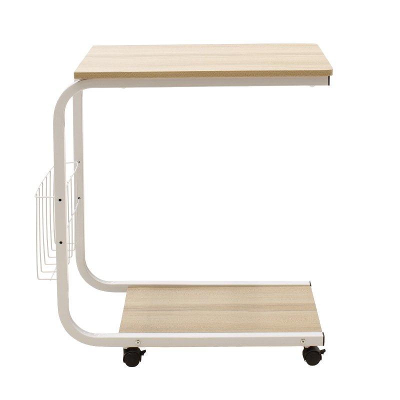 Τραπέζι βοηθητικό σαλονιού Troy pakoworld τροχήλατο-MDF φυσικό-λευκό 51x30x56εκ