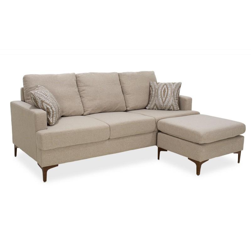 Γωνιακός καναπές με σκαμπό Slim pakoworld υφασμάτινος χρώμα μπεζ με μαξιλάρια 185x140x70εκ