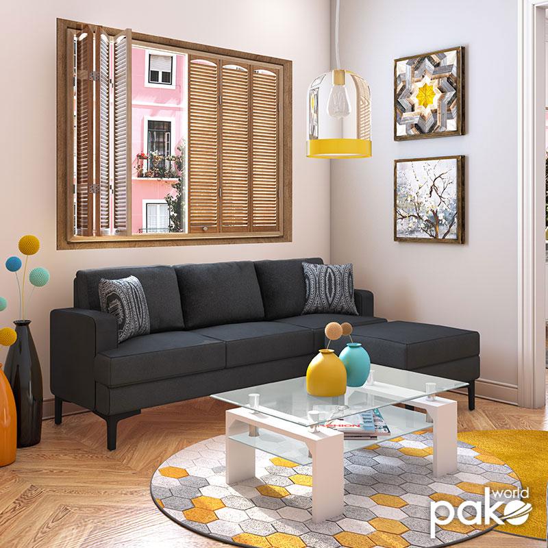Γωνιακός καναπές με σκαμπό Slim pakoworld υφασμάτινος χρώμα ανθρακί με μαξιλάρια 185x140x70εκ