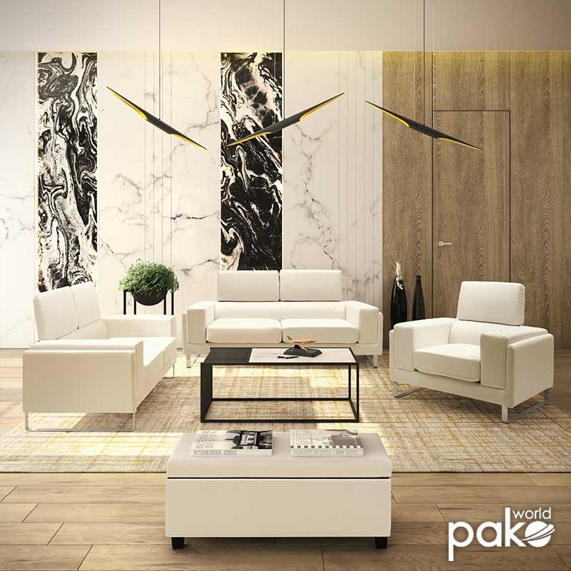 Καναπές Shea pakoworld 3θέσιος pu λευκό-inox 198x80x87εκ