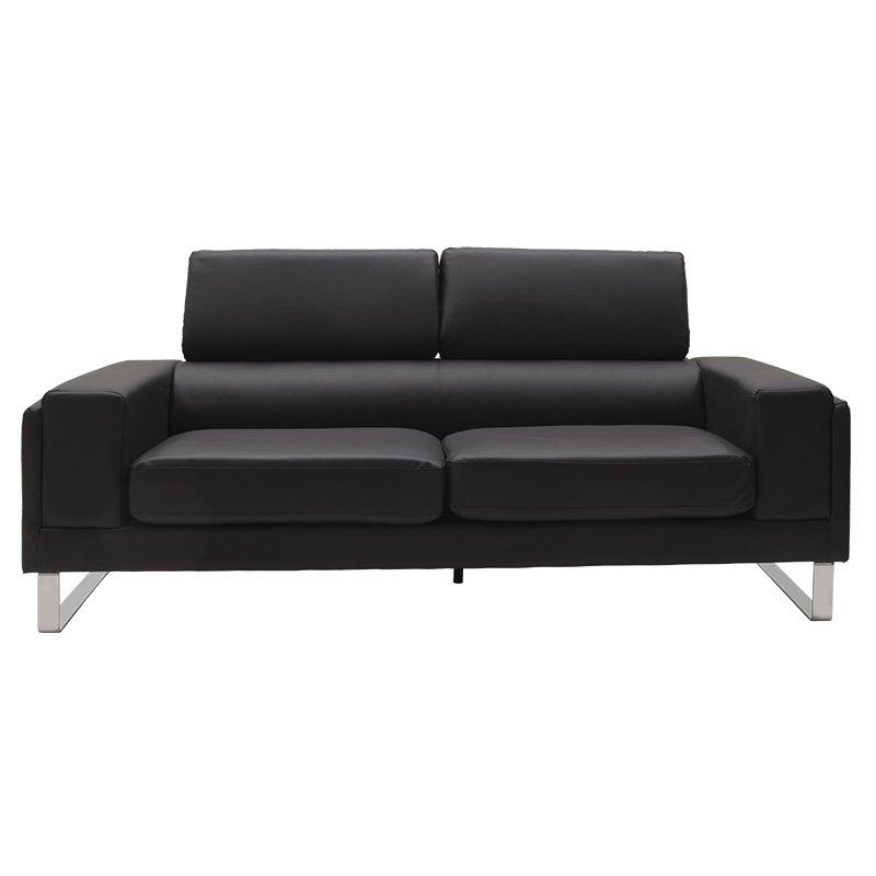 Καναπές Shea pakoworld 3θέσιος pu μαύρο-inox 198x80x87εκ