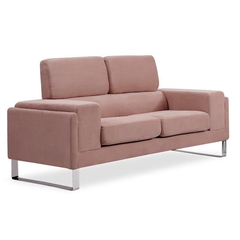 Καναπές Shea pakoworld 2θέσιος ύφασμα ροζ-inox 158x80x87εκ